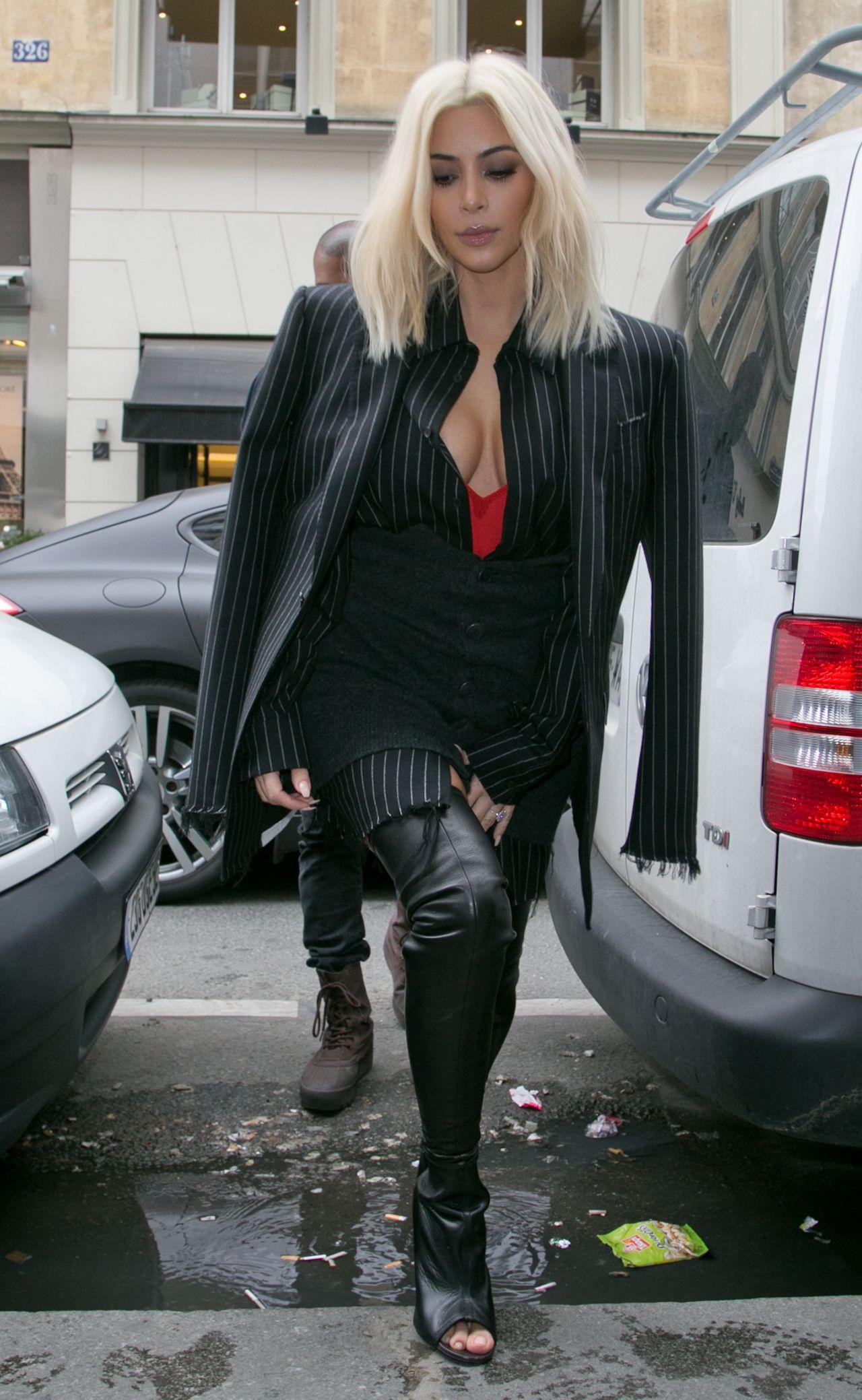 Kim Kardashian Street Fashion Out In Paris March 2015
