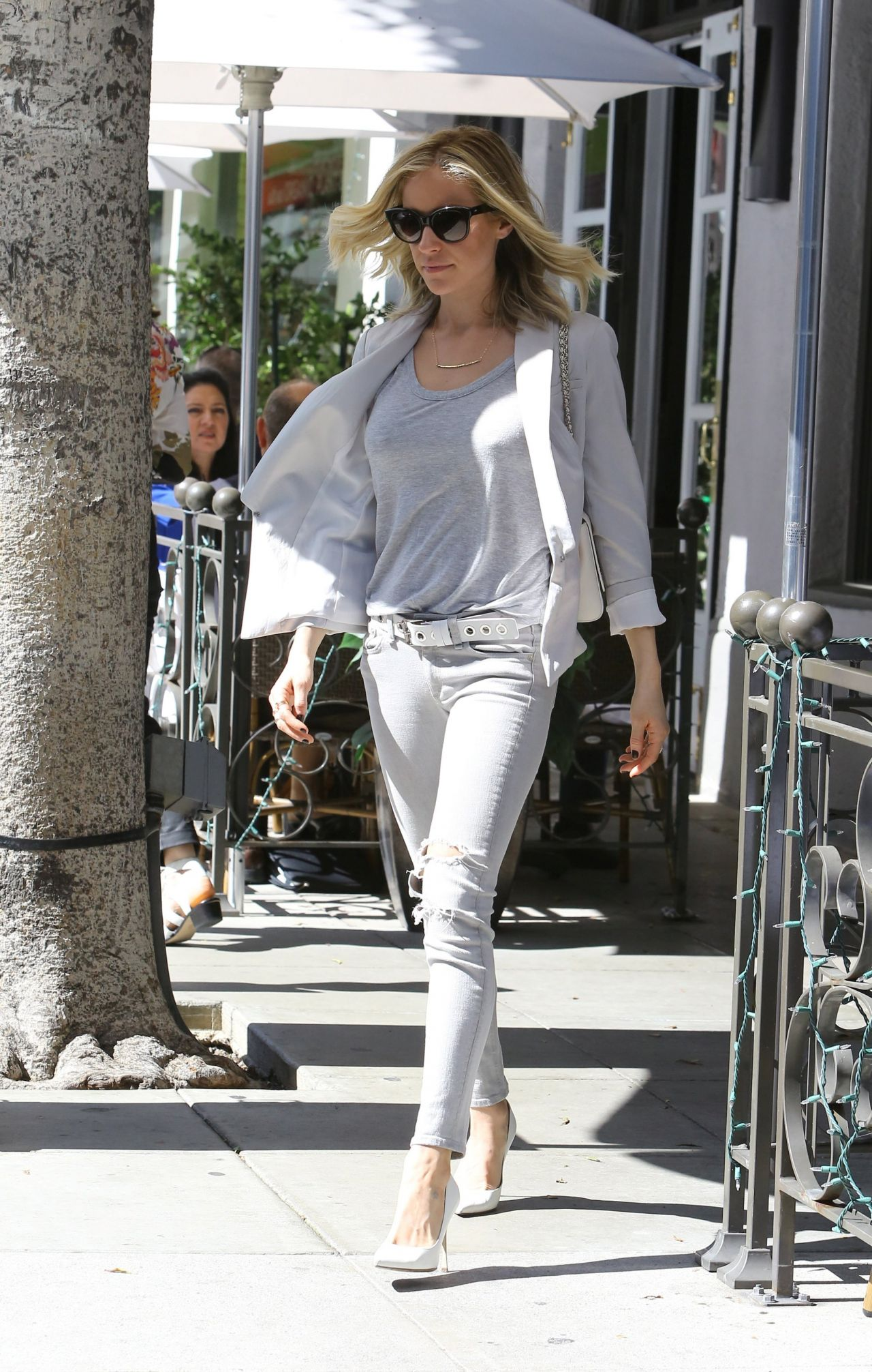 Kristin Cavallari Casual Style - Leaving a Restaurant in ...