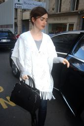 Lily Collins Casual Style - Out in Paris, March 2015