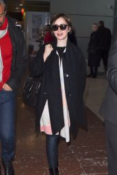 Lily Collins Street Style - Charles de Gaulle Airport in Paris, March 2015