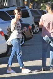 Lily Collins Street Style - Out For a Lunch With Friend in Los Angeles, March 2015