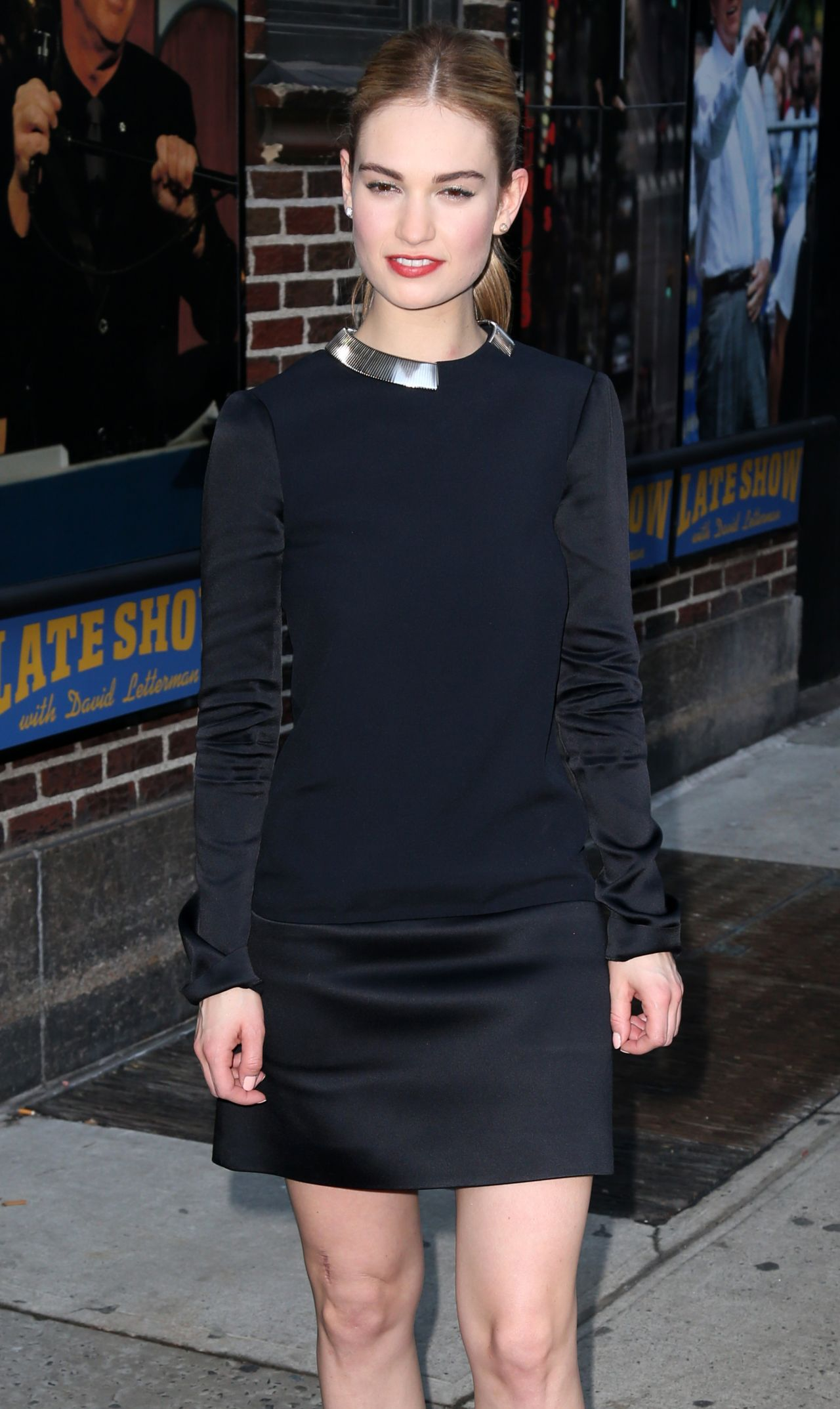 Lily James Arriving to Appear on Late Show With David Letterman in New York City, March 2015