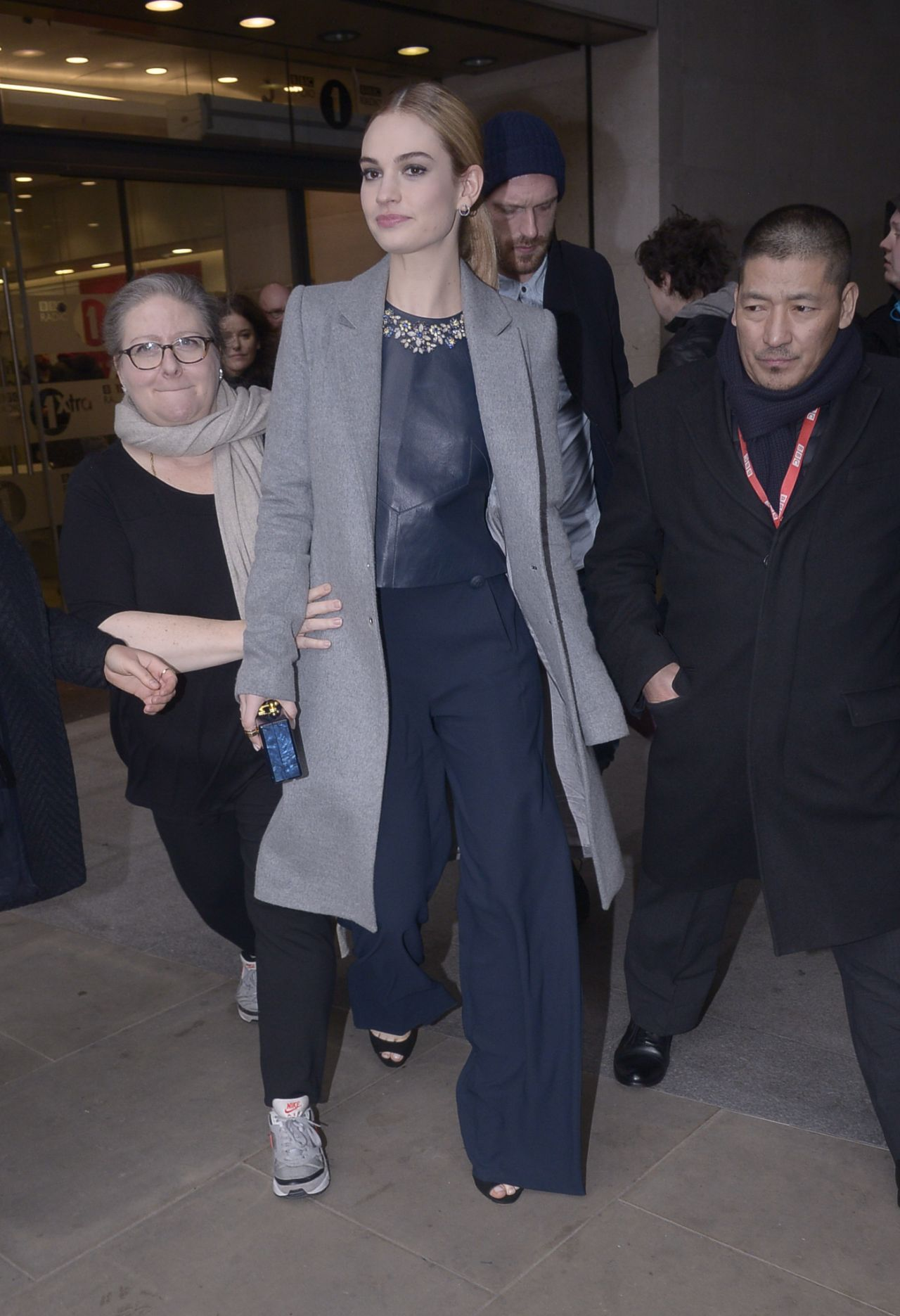 Lily James Leaving BBC Radio 1 Studios in London, March 2015