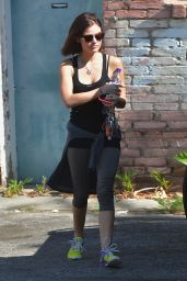 Lucy Hale - Leaving Gym in Los Angeles, March 2015