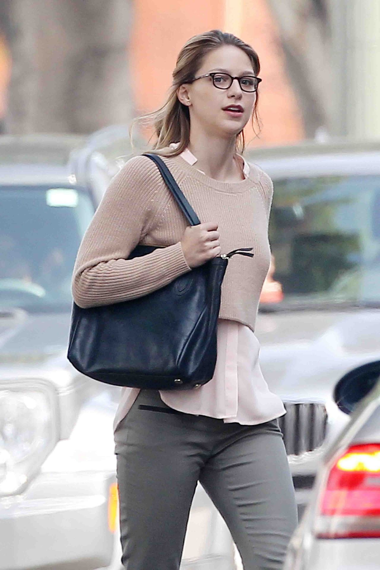 Melissa Benoist - On the Set of Supergirl in Los Angeles, March 2015