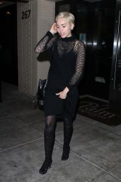 Miley Cyrus Night Out Style - Palm Restaurant in Beverly Hills, March 2015