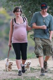 Milla Jovovich & Paul W.S. Anderson Hiking With Their Dog, March 2015