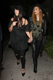 Nicole Scherzinger in Leather Pants - Leaving a Party in LA – March 2015