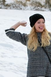 Olivia Holt - Having Fun in the Snow in New York City, March 2015
