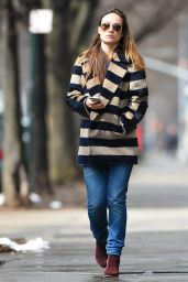 Olivia Wilde in Striped Coat in New York, March 2015
