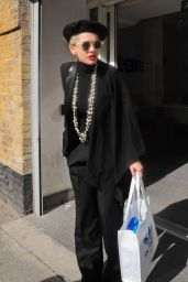 Rita Ora in Black Suit - Out in London, March 2015