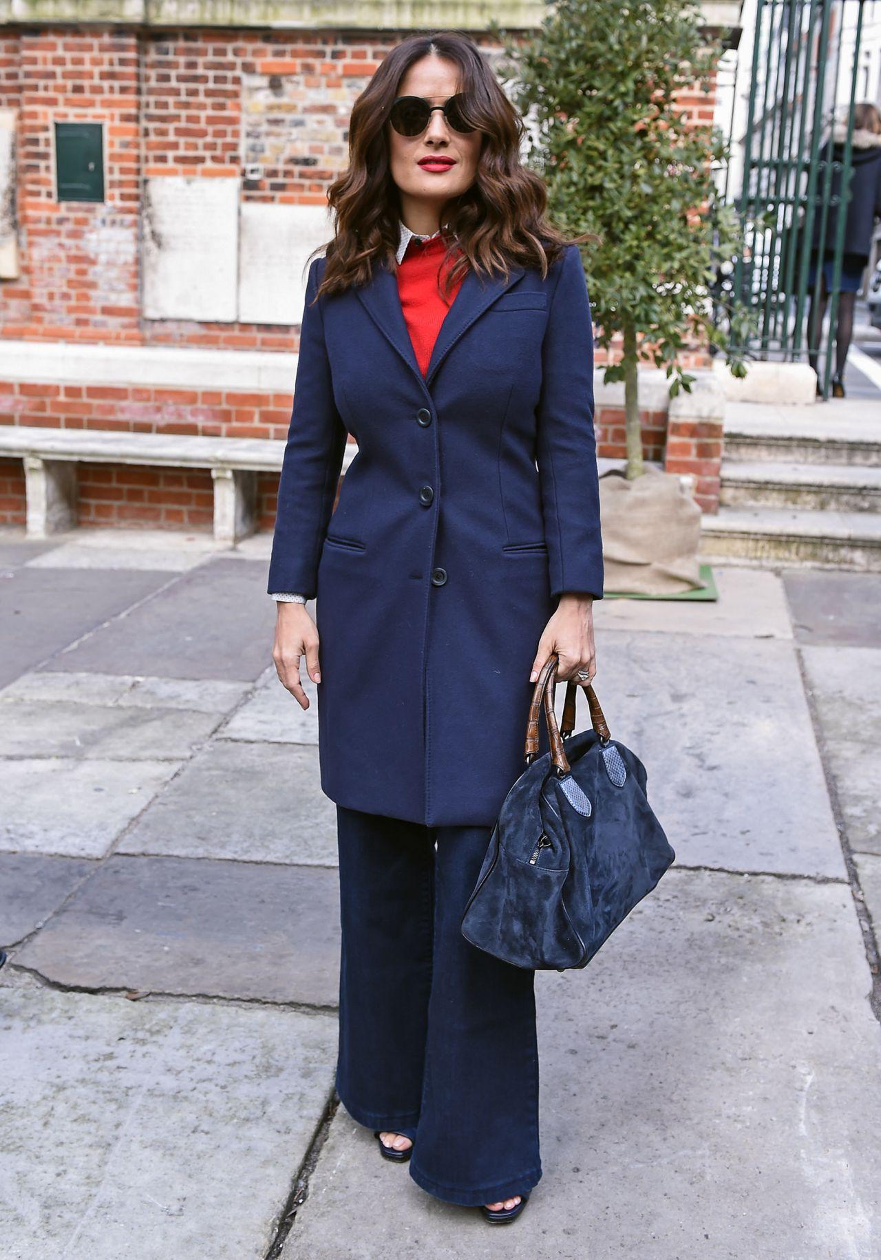 Salma Hayek Street Fashion Out In London March 2015