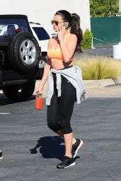 Selena Gomez in Leggings and Sports Bra, Los Angeles, March 2015