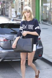 Taylor Swift in White Shorts - Out in Studio City, March 2015