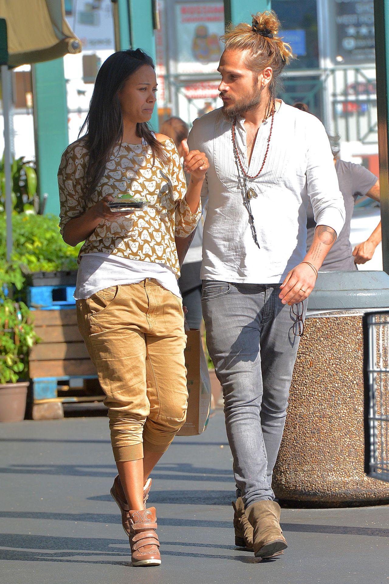 Zoe Saldana And Marco Perego Leaving Whole Foods In Los