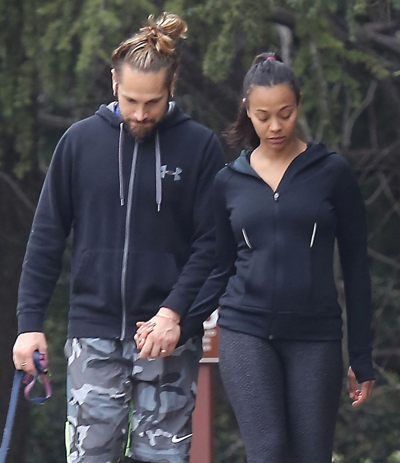 Zoe Saldana Hiking With Her Husband in Beverly Hills, March 2015