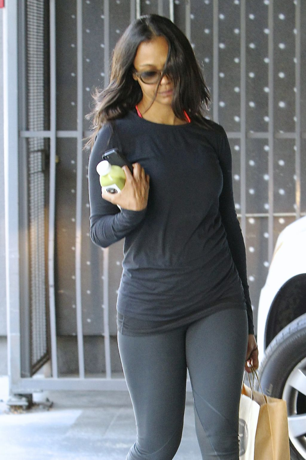 zoe saldana in leggings out in hollywood march 2015