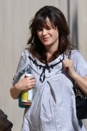 Zooey Deschanel arriving at