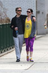 Anne Hathaway - Going to the Gym in the West Village, New York City, April 2015