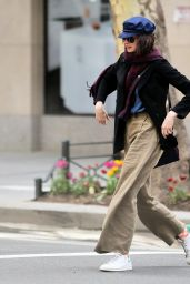 Anne Hathaway Street Style - Walks Home in New York City, April 2015