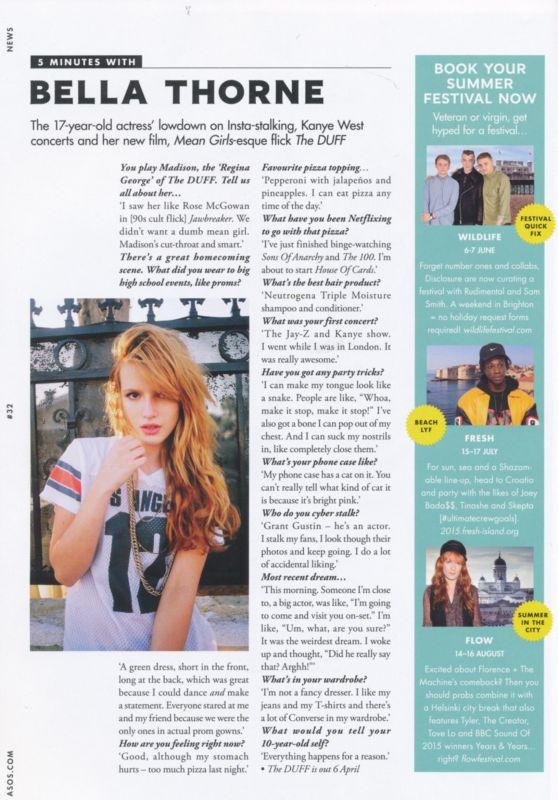 Bella Thorne - ASOS Magazine May 2015 Issue