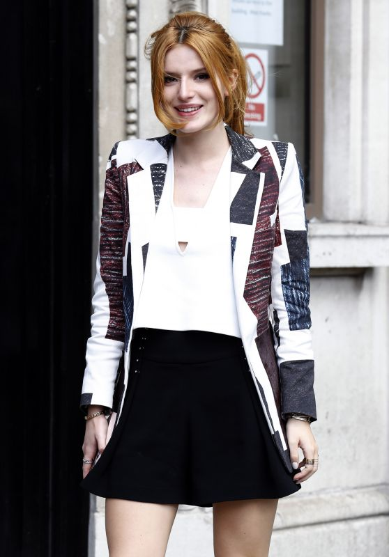 Bella Thorne in Mini Skirt - Arriving At Bauer Group Radio Studios In London, March 2015