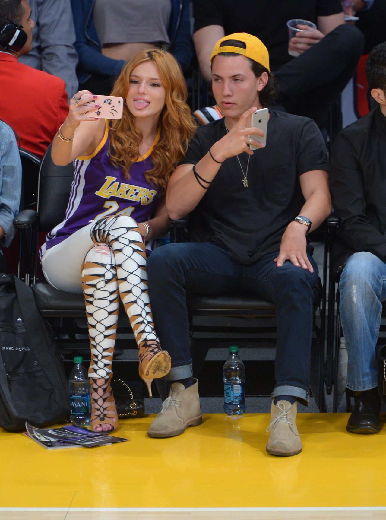 Bella Thorne With Boyfriend - Lakers Game at Staples