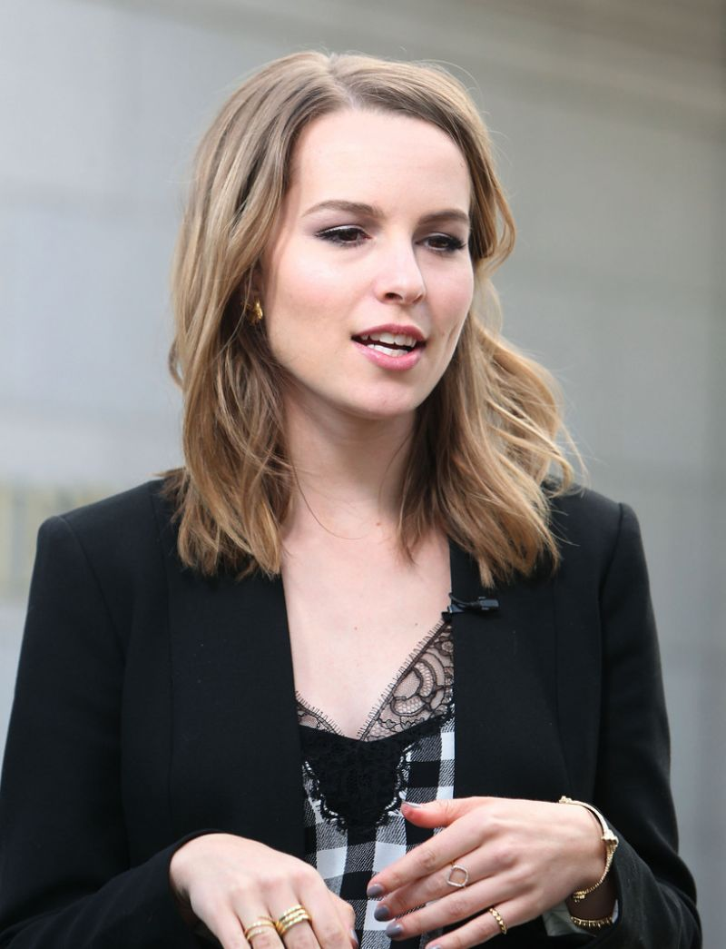 Bridgit Mendler On The Set Of Extra In Los Angeles