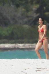 Carla Gugino in a Red Bikini - Cancun, April 2015