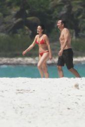 Carla Gugino in a Red Bikini - Cancun, April 2015