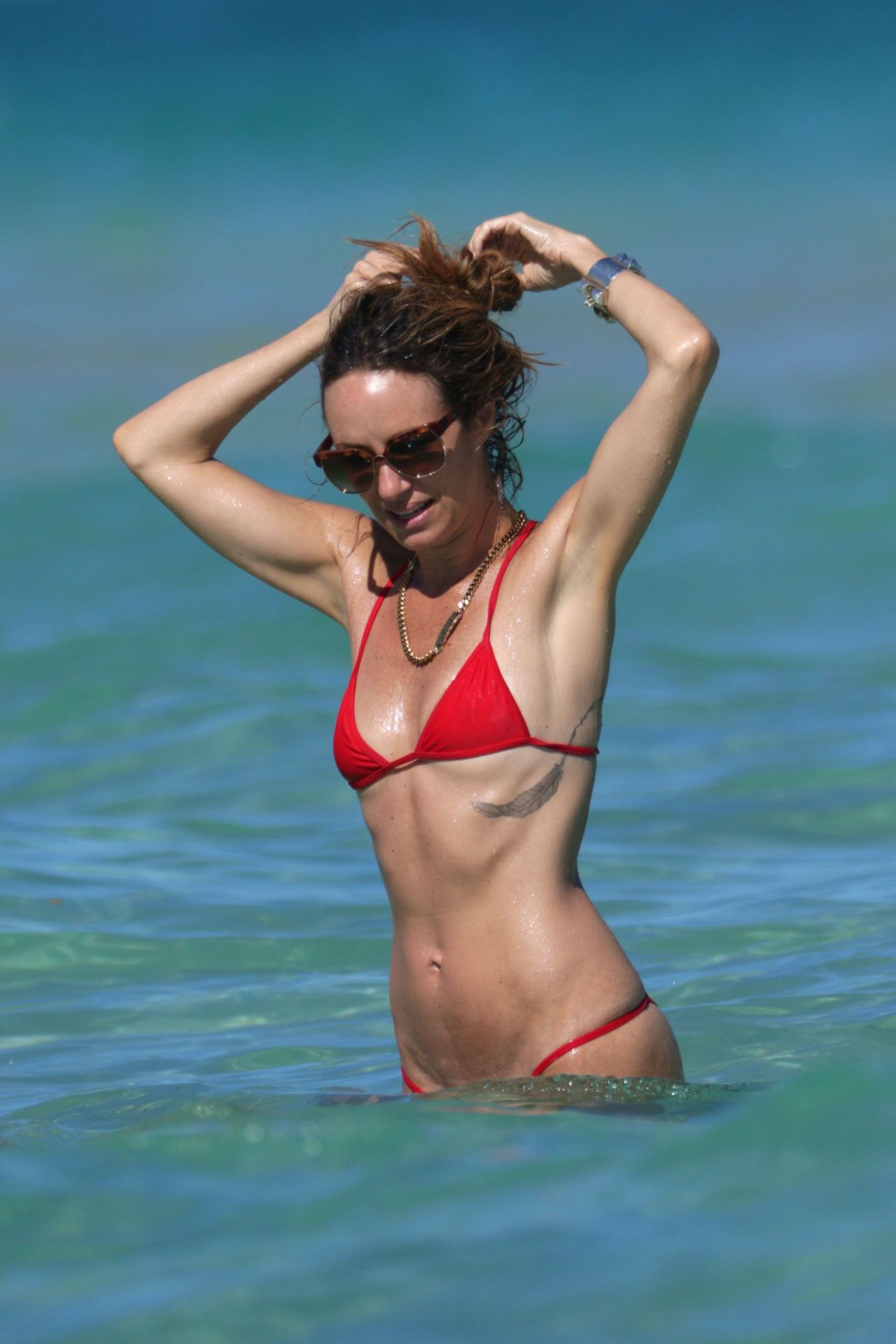 Catt Sadler In Red Bikini At A Beach In Miami - April 2015-1227