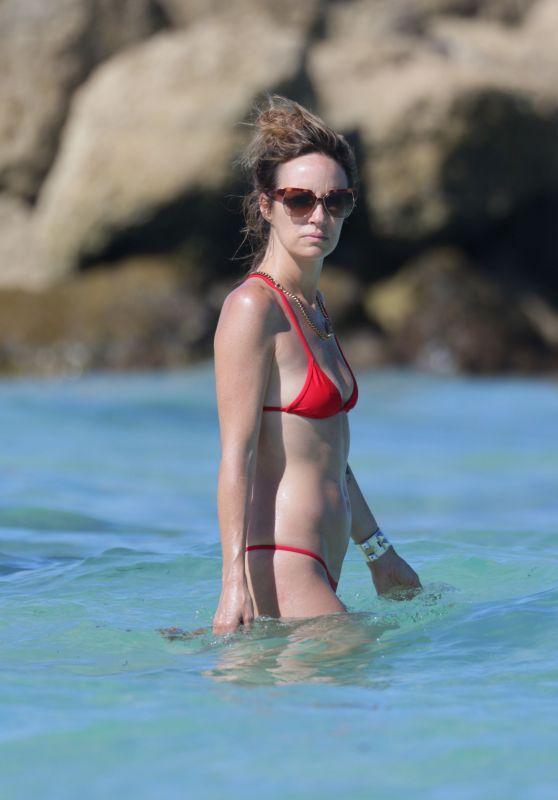 Catt Sadler in Red Bikini at a Beach in Miami - April 2015