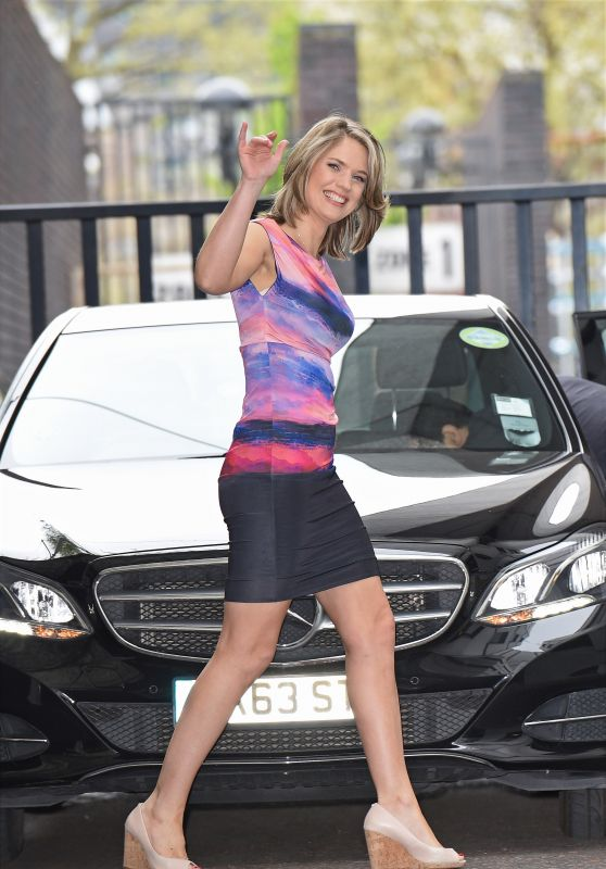 Charlotte Hawkins Leggy in Mini Dress - Outside the London Studios, April 2015