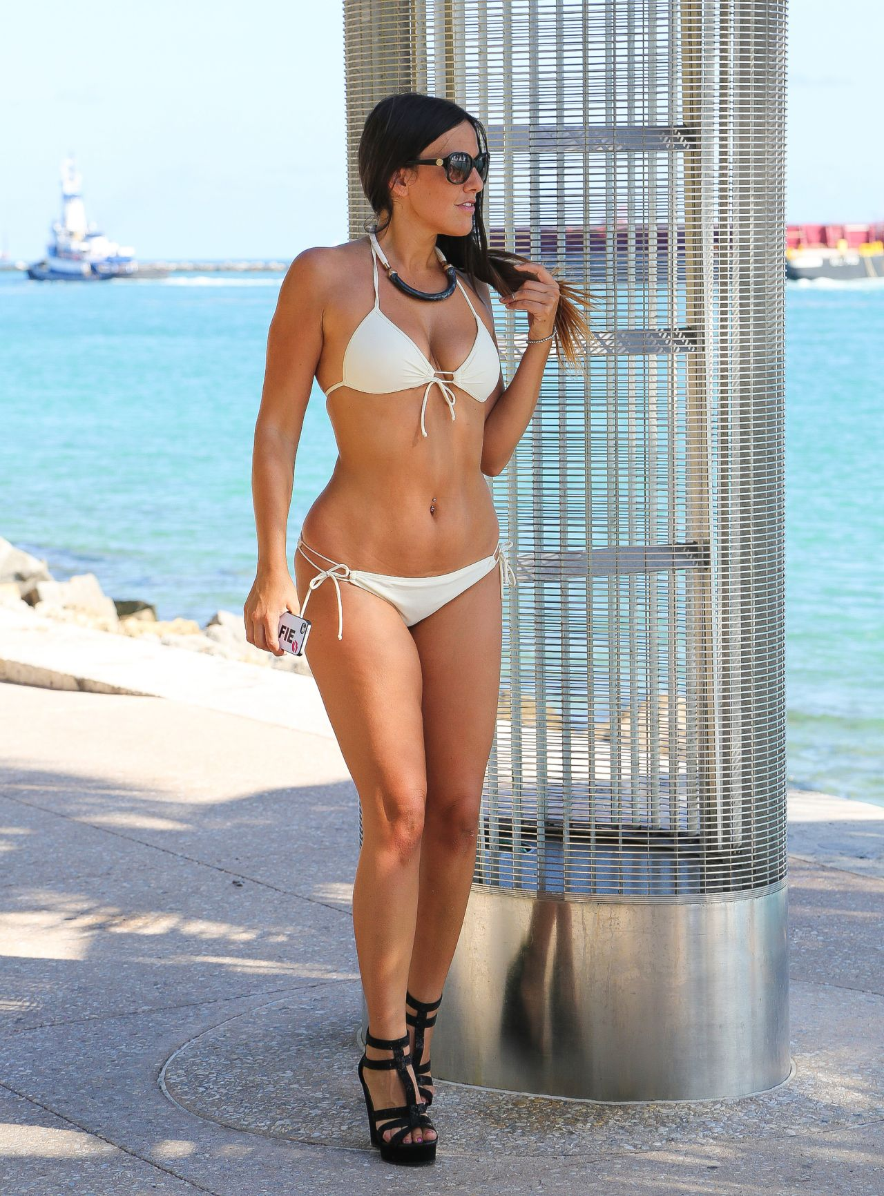 Claudia Romani Hot In White Bikini Miami April 2015