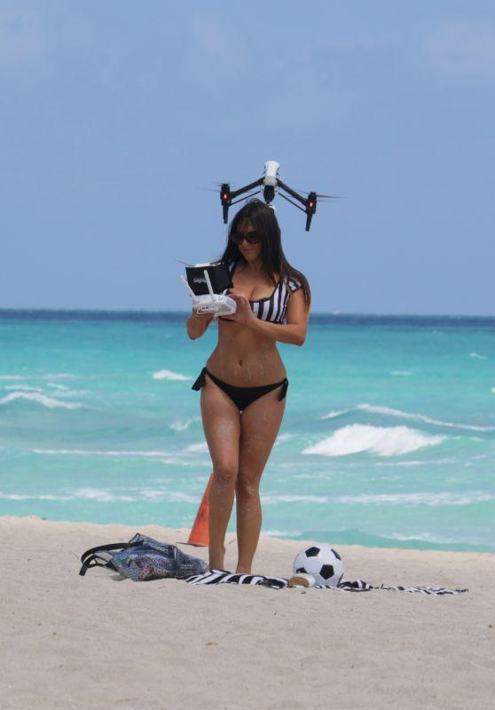 Claudia Romani Playing in a Bikini on Miami Beach, April 2015