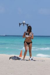 Claudia Romani Playing in a Bikini on Miami Beach, April 2015