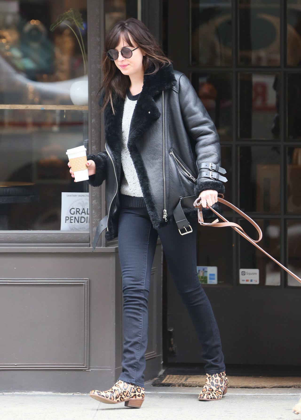 Dakota Johnson Casual Outfit - New York City April 2015