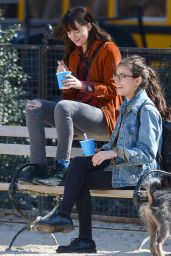 Dakota Johnson - Out With Her Dog in NYC, April 2015