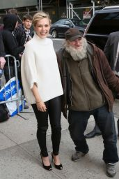 Elizabeth Olsen at The Daily Show With Jon Stewart in New York, April 2015