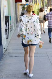 Elle Fanning in Jeans Shorts - Out in Studio City, April 2015
