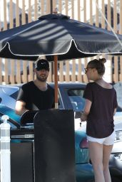 Emily VanCamp Booty in Shorts at Sugarfish in West Hollywood, April 2015
