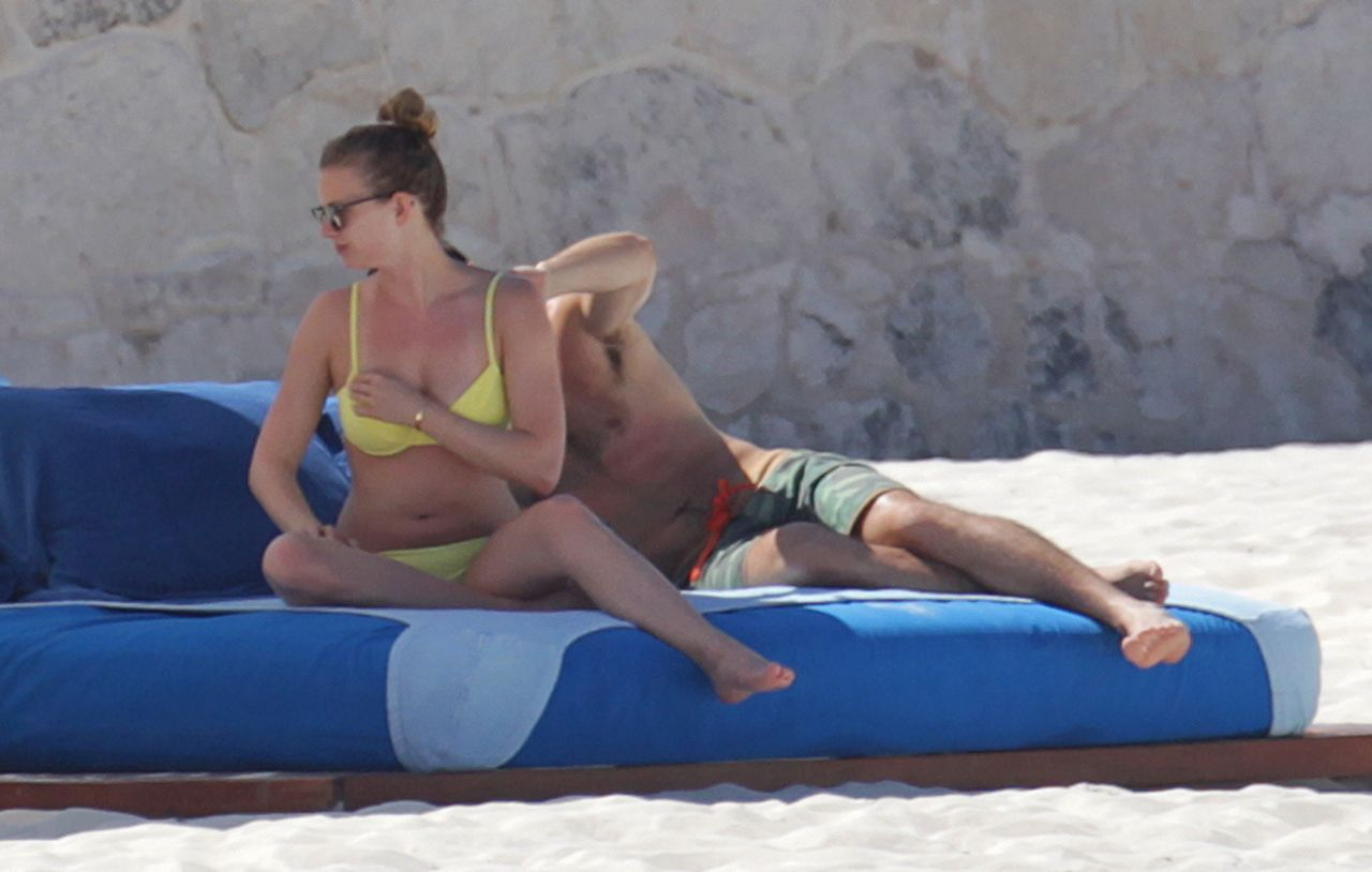 Emily Vancamp In Yellow Bikini On A Beach In Cancun April