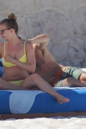 Emily VanCamp in Yellow Bikini on a Beach in Cancun, April 2015