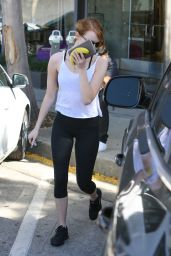 Emma Stone in Tank Top and Tights - Out in West Hollywood April 2015