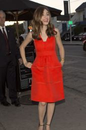 Emmy Rossum in Red Dress - Arriving at Craig