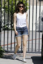 Emmy Rossum Leggy in Shorts - Out in Beverly Hills, March 2015