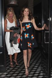 Emmy Rossum Night Out Style - Leaving Craig's Restaurant, April 2015