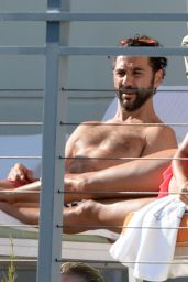 Eva Longoria Bikini Candids - Poolside in Miami, April 2015