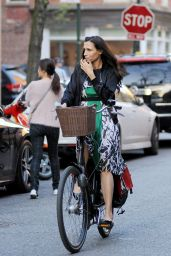 Famke Janssen - Biking in The Meatpacking District in New York, April 2015