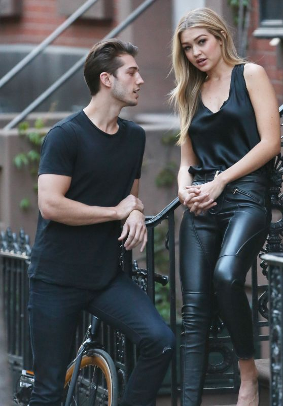 Gigi Hadid in Leather Pants and Heels - Doing a Photoshoot in NYC, April 2015